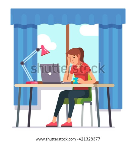 Young woman fell asleep working on laptop computer at her home office working desk. Flat style color modern vector illustration. - stock vector