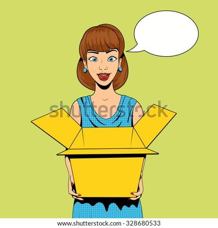 Young woman get a present vector illustration retro pop art halftone comics style - stock vector