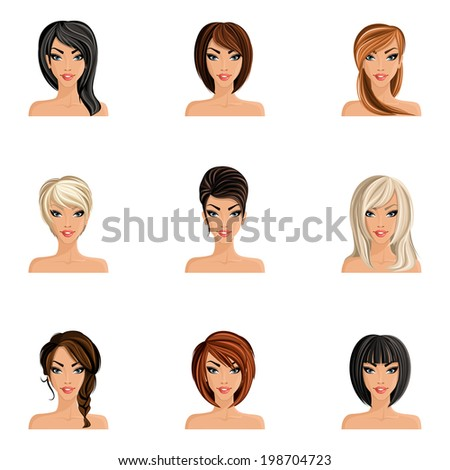 Young woman girl avatars set with haircut styles isolated vector illustration - stock vector