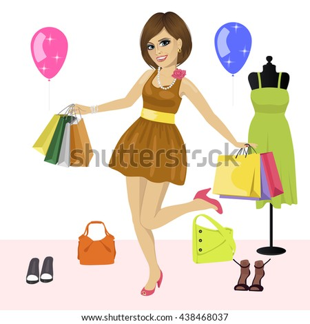 Young woman having fun with shopping bags over women's clothes - stock vector
