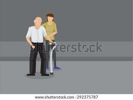 Young woman holding arm and shoulder of weak old man with a metal walking stick on the road. Cartoon vector illustration on helping elderly. - stock vector
