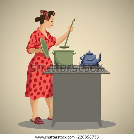 Young woman housewife dressed in vintage morning gown cooking and tasting food in kitchen retro style vector illustration - stock vector