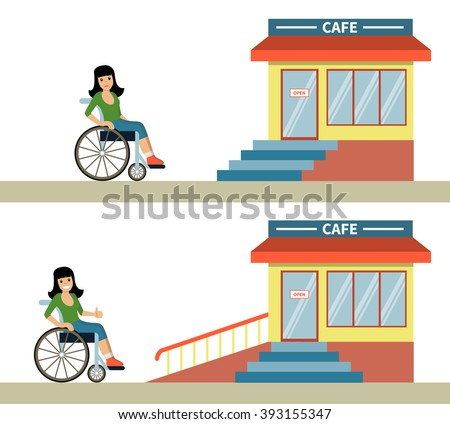 Young woman in a wheelchair in front of cafe with stairs and with wheelchair ramp. Concept for barrier free environment for physically challenged people. Vector illustration. Flat design. - stock vector