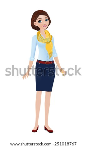 Young Woman in a Yellow Scarf - stock vector