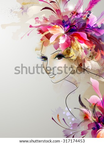 young woman in artistic image - stock vector