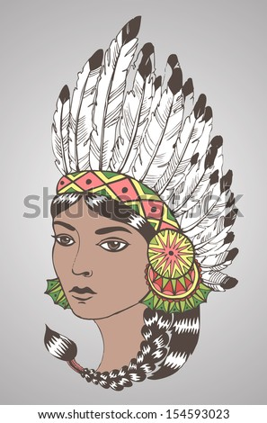 Young woman in costume of American Indian.Color vector illustration of a beautiful American Indian woman with braided hair and native american indian chief headdress. - stock vector