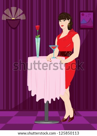 Young woman in red dress standing near the table - stock vector