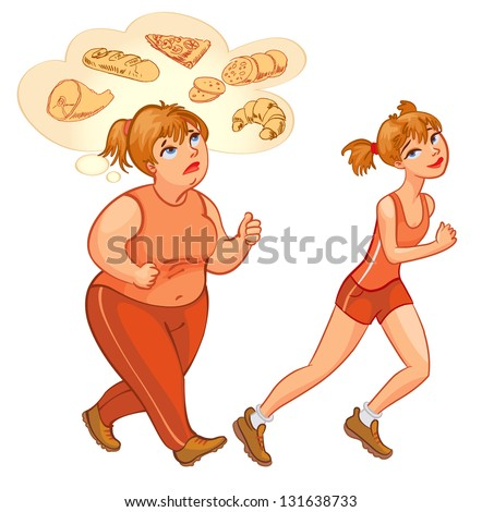 Young woman jogging. Fat woman jogging, dreams of high-calorie foods. Health and fitness. Vector illustration. Isolated on white background - stock vector