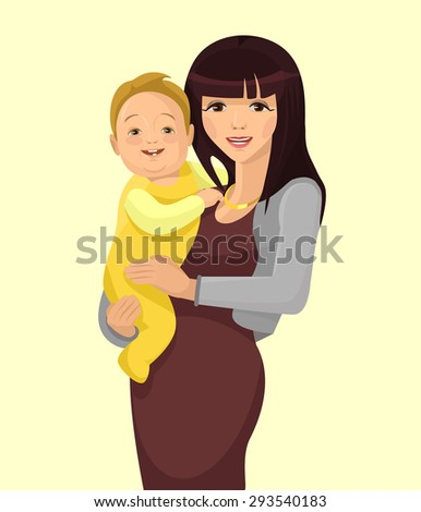 Young woman mother with baby. Vector flat illustration - stock vector