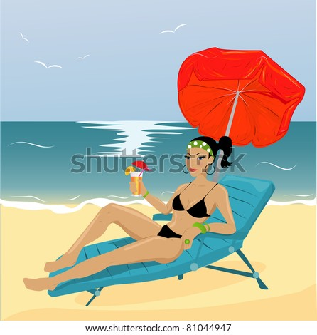 Young woman on a beach - stock vector