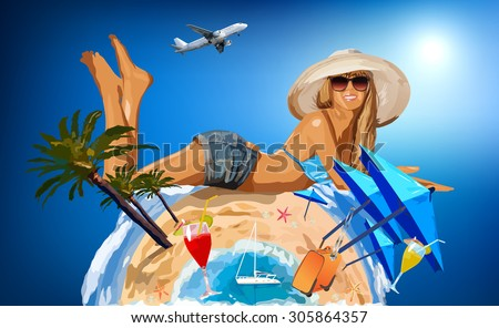 Young woman on sunny beach on warm side of planet. - stock vector