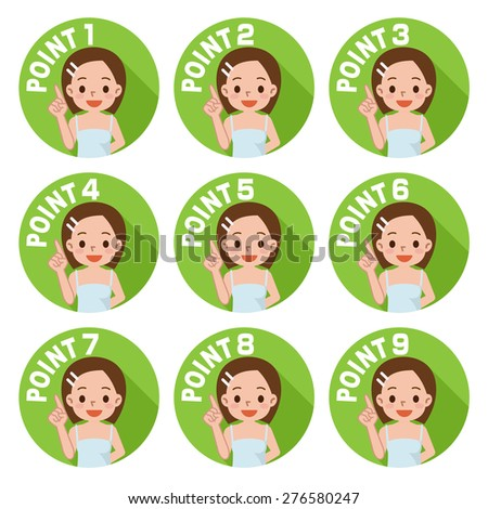 Young woman Pointing - stock vector