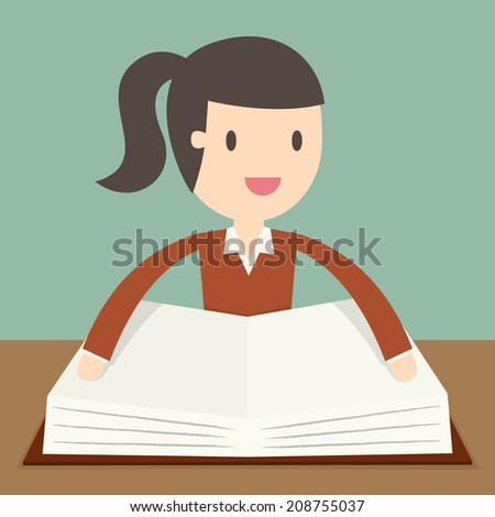 young woman reading the Book - stock vector