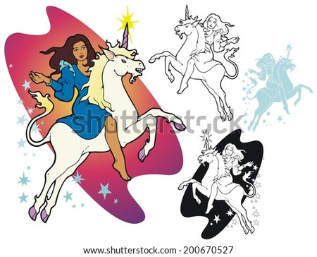 young woman riding a unicorn, with variations - stock vector
