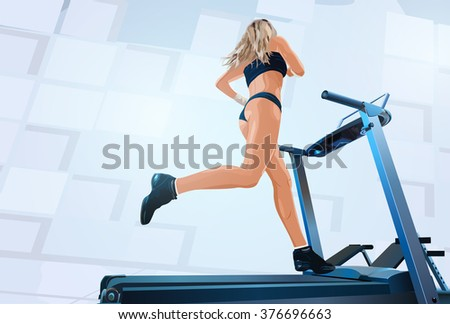 Young woman running on treadmill in gym - stock vector