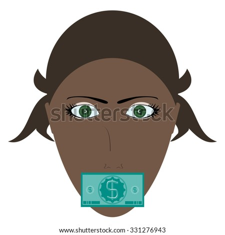Young woman silenced by money concept with green bill covering his mouth - stock vector