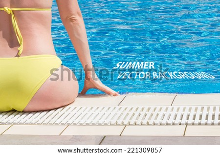 Young Woman Sitting On The Edge Of The Pool. Vector Background - stock vector