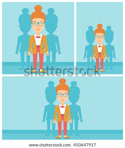 Young woman standing with some shadows behind her. Candidat for a position stand out from crowd. Concept of staff recruitment. Vector flat design illustration. Square, horizontal, vertical layouts. - stock vector
