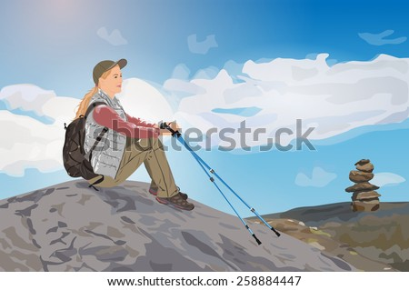 Young woman tourist sitting on mountain top. EPS 10 format. - stock vector