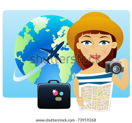 Young woman traveling around the world with a map and a camera - stock vector
