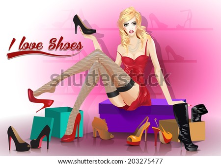 Young woman tries on shoes. vector,  background. - stock vector