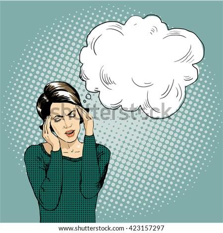 Young woman vector illustration in pop art retro comic style, speech bubble, headache - stock vector
