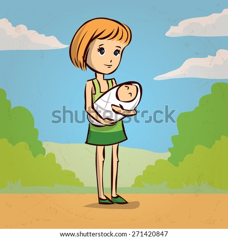 young woman with baby. Hand drawn cartoon vector illustration. - stock vector