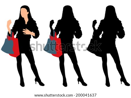 Young woman with shopping bag, vector  - stock vector