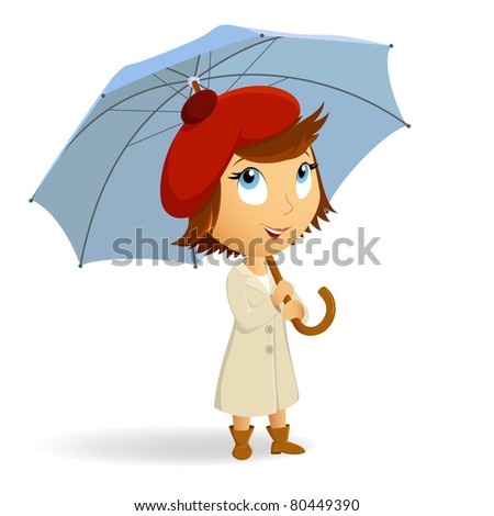 Young woman with umbrella on white background. Vector illustration. - stock vector