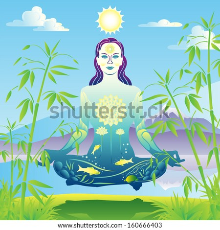 Young woman yogini meditates and levitates by a scenic lake and mountains landscape vector illustration - stock vector