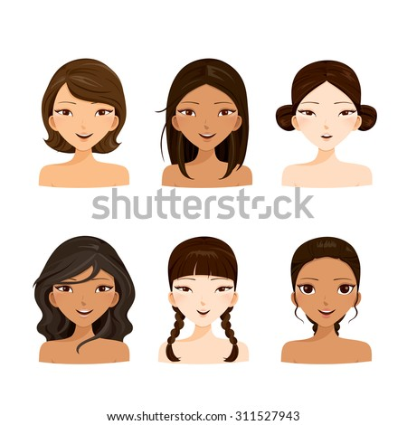 Young women faces with various hairstyles and skin, hair colors, ladies fashion, beauty - stock vector