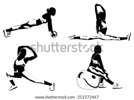 Young women fitness exercising silhouettes. EPS 10 format. - stock vector