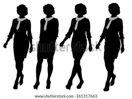 Young women in dress whit phone on white background - stock vector