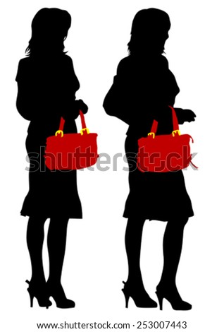 Young women in dress with bag on white background - stock vector