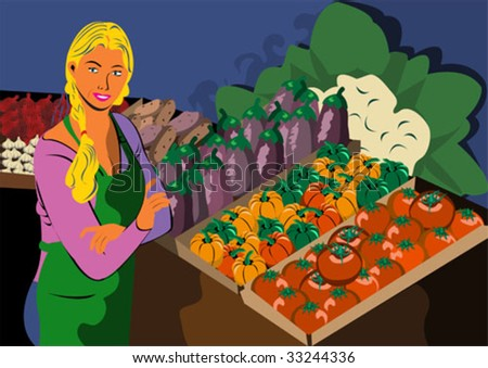 Young women worker in a grocery store. - stock vector