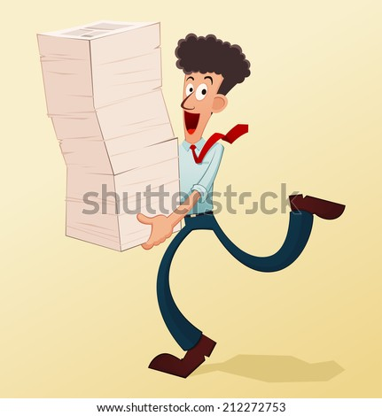 young worker lifting a pile of documents - stock vector