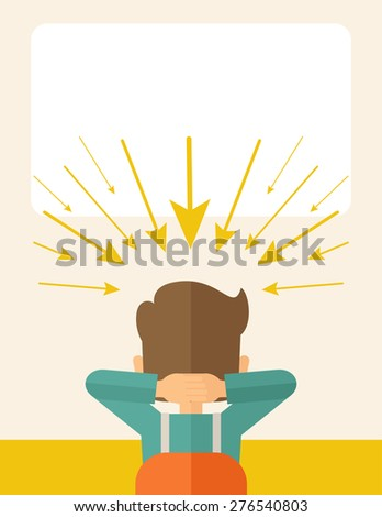 Young worried businessman thinking about business with negative trend. Business failure concept. A Contemporary style with pastel palette, soft beige tinted background. Vector flat design illustration - stock vector