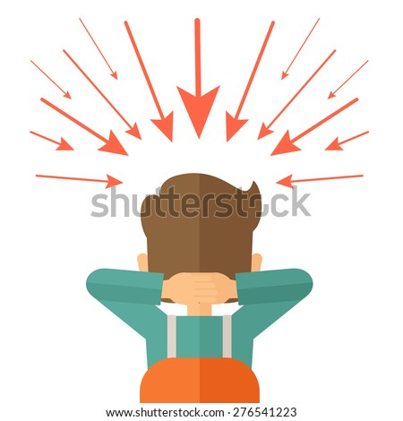 Young worried businessman thinking about business with negative trend. Business failure concept. A Contemporary style. Vector flat design illustration isolated white background. Square layout. - stock vector