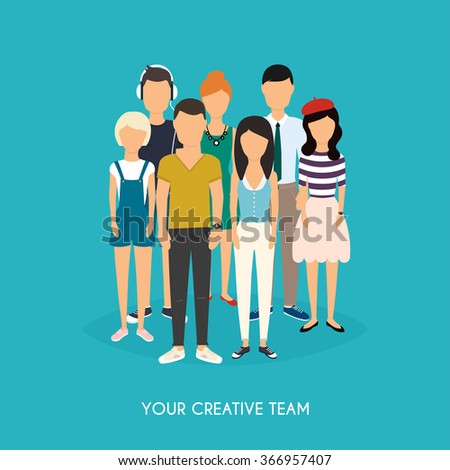 Your creative team. Business Team. Teamwork. Social Network and Social Media Concept. Business flat vector illustration. - stock vector