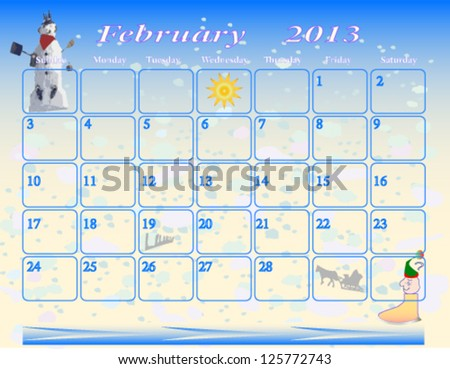 Your February calendar 2013. Vector or raster printer friendly calendar notes sheet. Portable, easy to use note list. A raster version of this file is available. - stock vector
