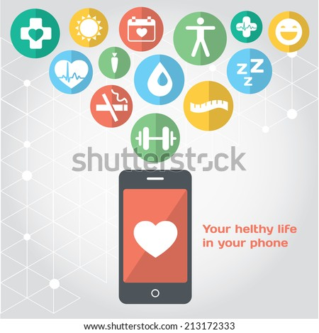 Your healthy life in your phone, health illustration. Vector modern flat design element - stock vector