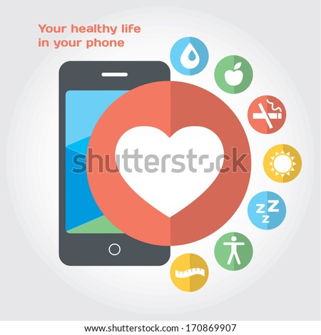 Your healthy life in your phone. Vector flat modern illustration with icon set - stock vector