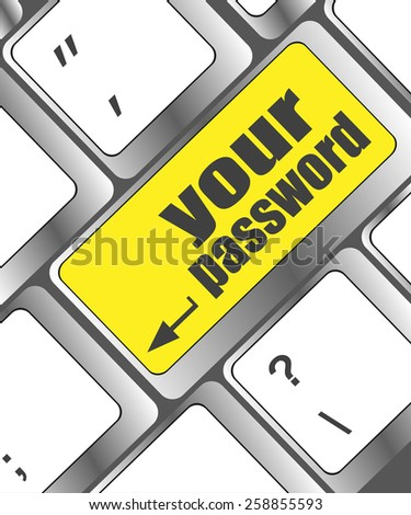your password button on keyboard - security concept - stock vector