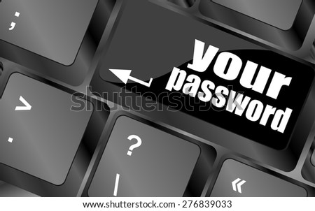 your password button on keyboard - security concept vector - stock vector