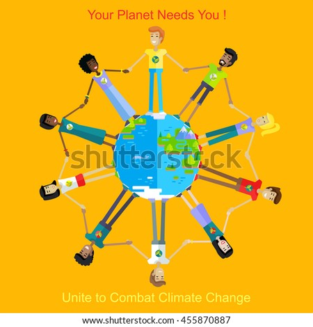Your planet needs you. People holding hands around the planet on yellow background - stock vector