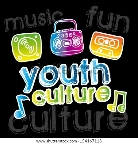 youth culture over black background vector illustration - stock vector
