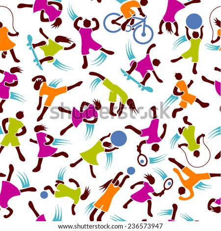 youth fitness exercise active figures seamless pattern - stock vector