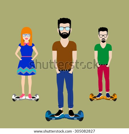 youth on a separate sheet of the electric vector scooter - stock vector