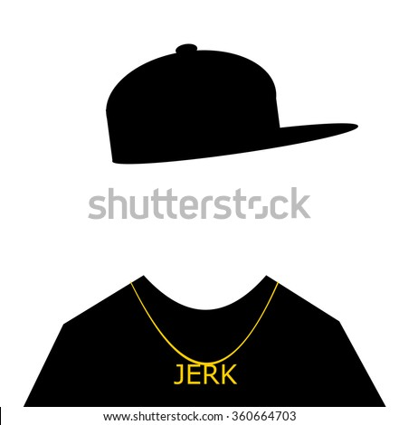 youth with baseball cap sideways and jerk necklace - stock vector