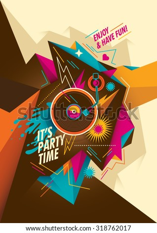 Youthful party poster. Vector illustration. - stock vector